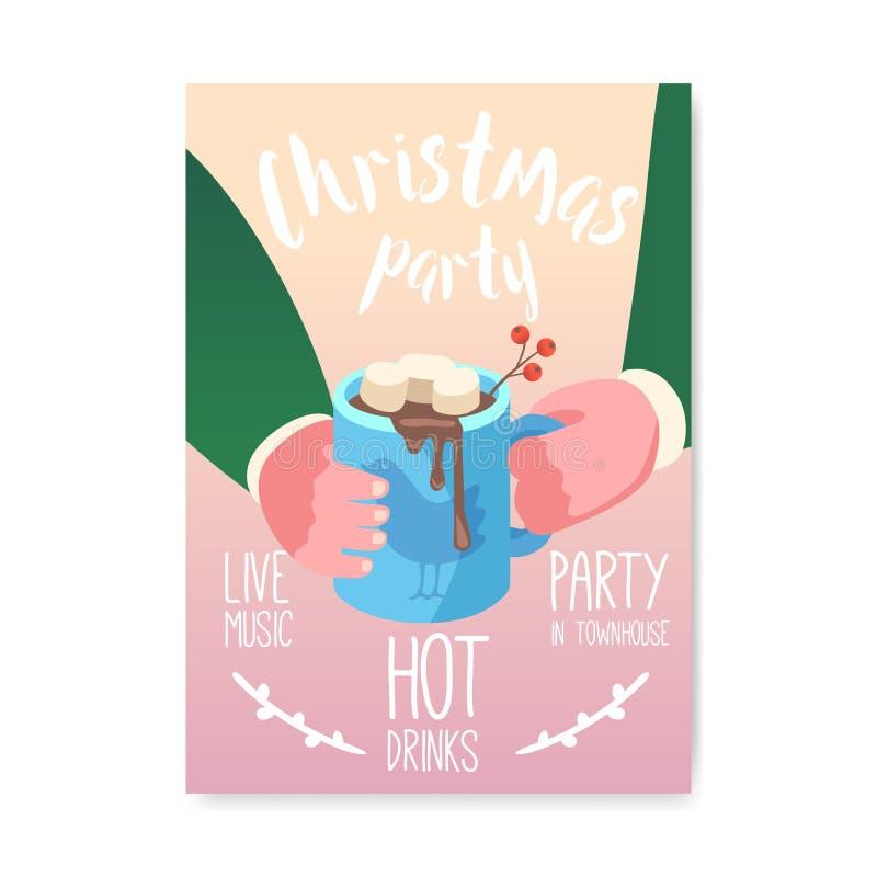 De vrolijke Affiche van de Kerstmis 2019 Partij, Uitnodiging, Vlieger De Groetkaart van de Kerstmis Uitstekende Banner met Kop va vector illustratie