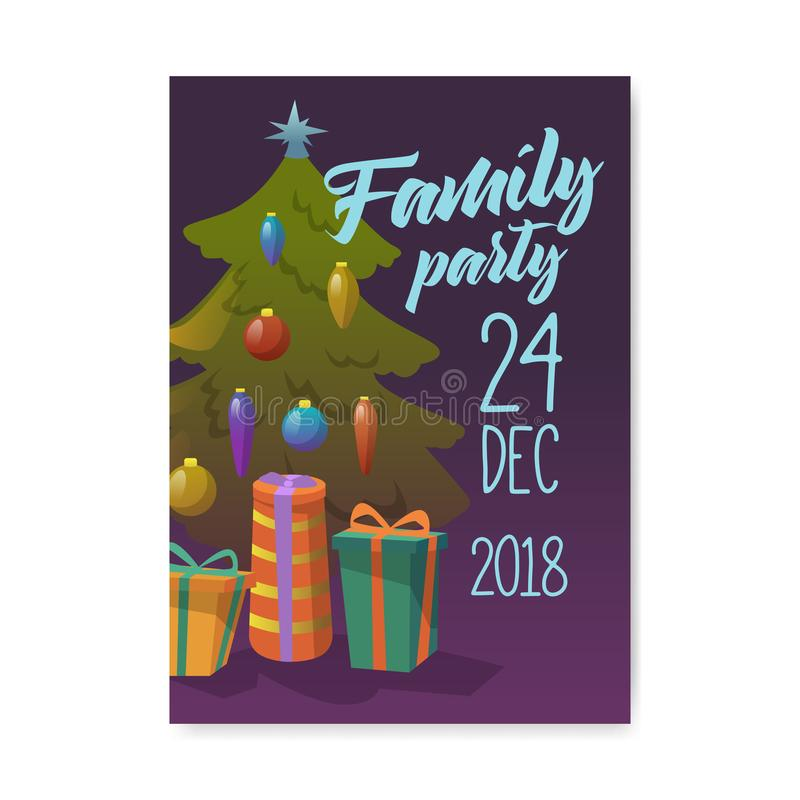 De vrolijke Affiche van de Kerstmis 2019 Partij, Uitnodiging, Vliegermalplaatje De Groetkaart van de Kerstmis Uitstekende Banner  vector illustratie