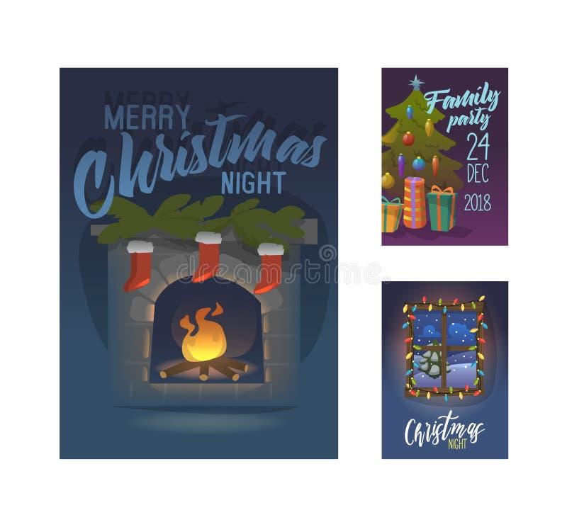 De vrolijke Affiche van de Kerstmis 2019 Partij, Uitnodiging, Vliegermalplaatje De Groetkaart van de Kerstmis Uitstekende Banner  stock illustratie