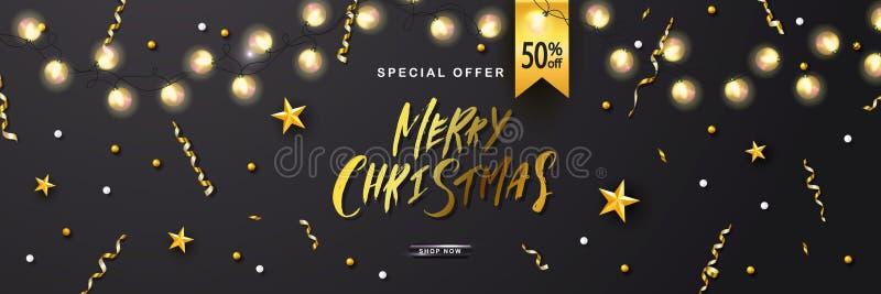 De vrolijke affiche van de Kerstmisverkoop met lichtgevende garlandsand glanzende kronkelweg Vector illustratie Ontwerp voor uitn stock illustratie