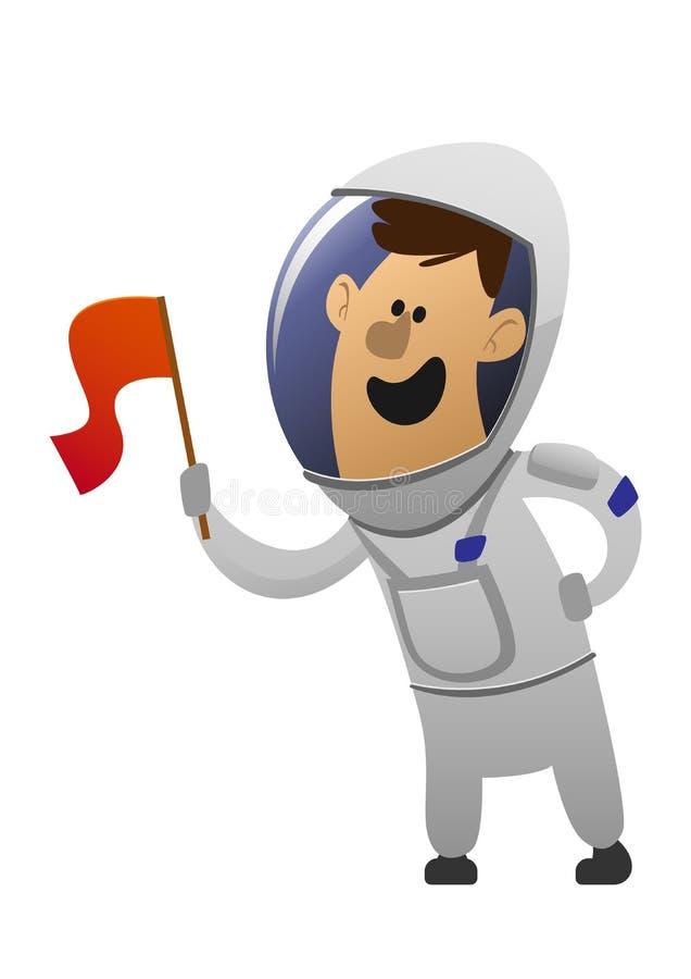 De vrolijke astronaut van het beeldverhaalkarakter met een vlag vector illustratie