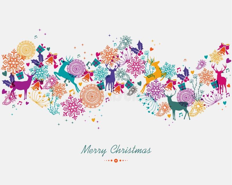 De vrolijke banner van de Kerstmis kleurrijke slinger