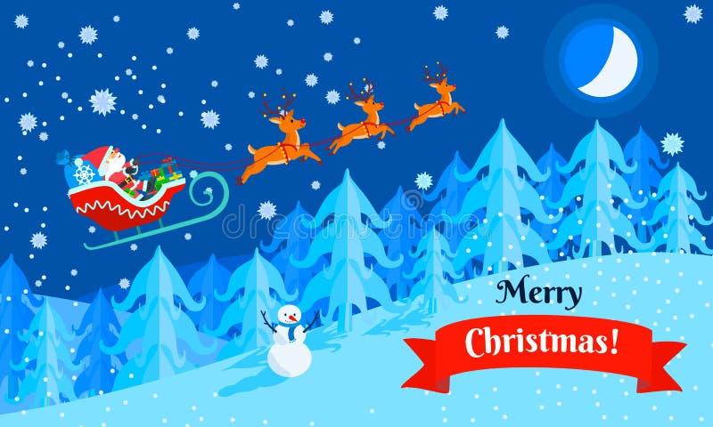 De vrolijke banner van het de arconcept van Kerstmissanta, vlakke stijl stock illustratie