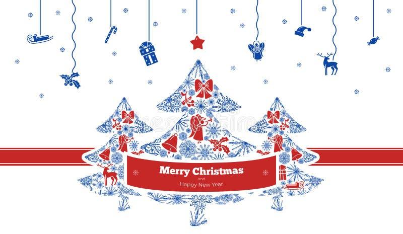De vrolijke banner van het Kerstmisconcept, eenvoudige stijl vector illustratie