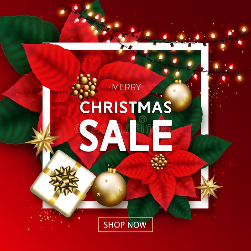 De vrolijke Banner van de Kerstmisverkoop met Gloeiende Slinger, Giftdoos, Goud stock foto
