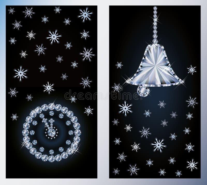 De vrolijke banners van de Kerstmisdiamant royalty-vrije illustratie