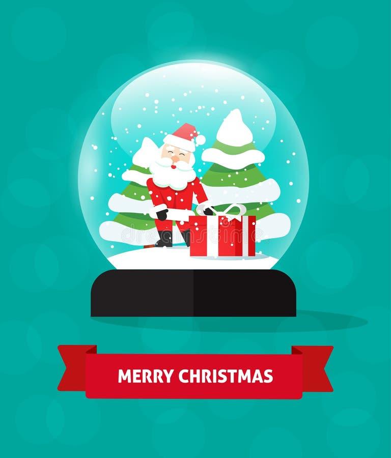 De vrolijke bol van de Kerstmissneeuw met Santa Claus, gift snowglobe sneeuwval royalty-vrije illustratie