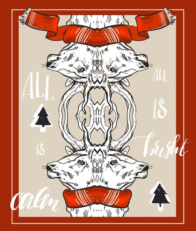 De vrolijke buitensporige gouden herten van het Kerstmis gelukkige nieuwe jaar vormen in de stijl van de hipsterorigami Ideaal vo royalty-vrije illustratie