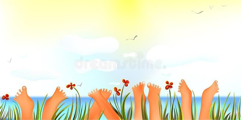 De vrolijke Dag van de Zomer met omhoog Tenen stock illustratie