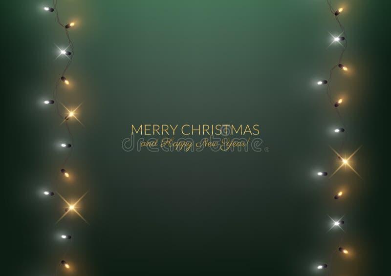 De vrolijke decoratieve achtergrond van het Kerstmis Gelukkige Nieuwjaar met glanzend royalty-vrije illustratie