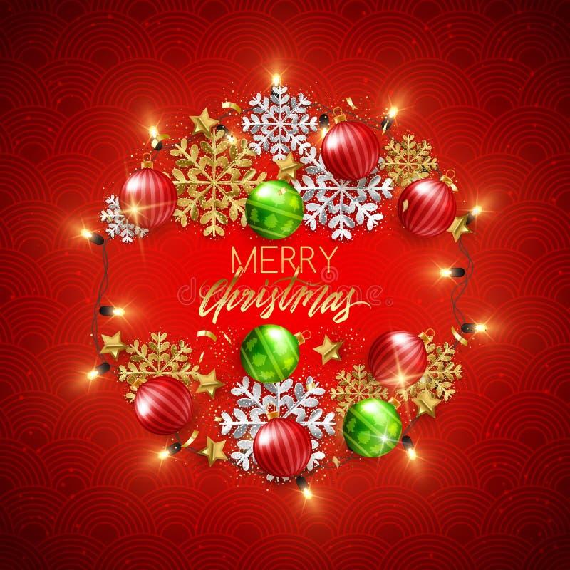 De vrolijke decoratieve prentbriefkaar van het Kerstmis Gelukkige Nieuwjaar, snuisterijen en stock illustratie