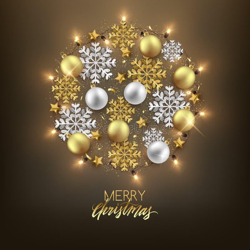 De vrolijke decoratieve prentbriefkaar van het Kerstmis Gelukkige Nieuwjaar, snuisterijen en vector illustratie