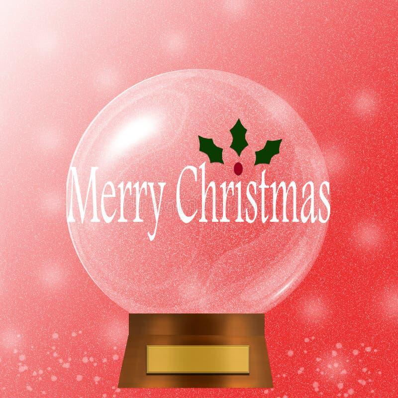 De vrolijke die bol van de Kerstmissneeuw met rode berrie wordt verfraaid en hollies vector illustratie