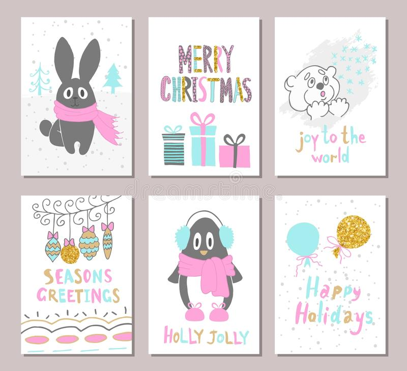 De vrolijke die kaart van de Kerstmisgroet met leuke Kerstmisboom wordt geplaatst, konijn, pinguïn, draagt, ballons, giften en an royalty-vrije illustratie
