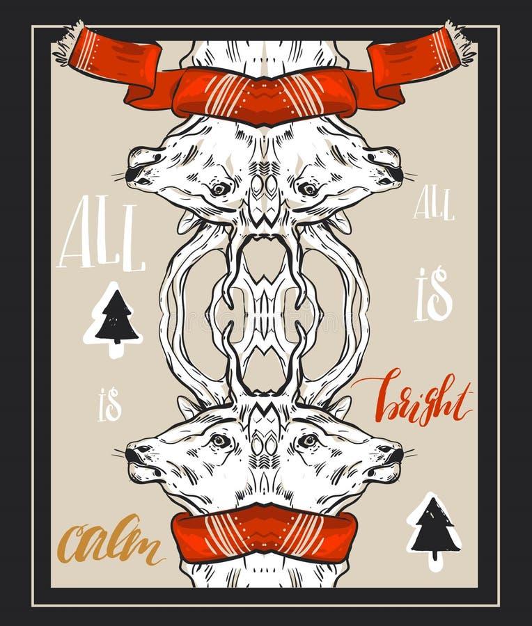 De vrolijke die kaart van de Kerstmisgroet met leuke Kerstmisboom, santa en herten retro ontwerpen wordt geplaatst Omvat naadloze royalty-vrije illustratie