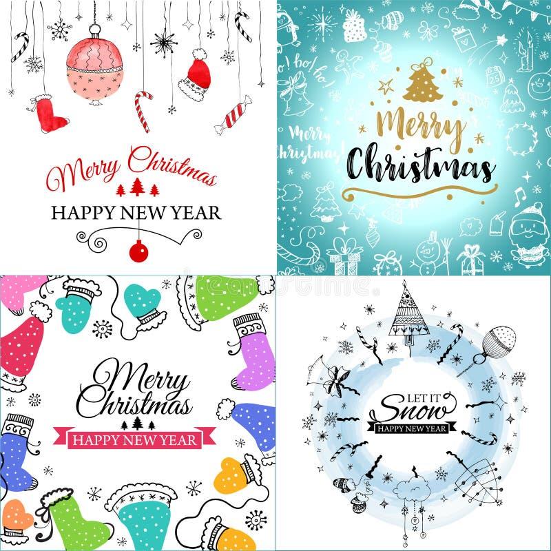 De vrolijke die kaart van de Kerstmisgroet met leuke Kerstmisboom, santa en herten retro ontwerpen wordt geplaatst Omvat naadloze stock illustratie