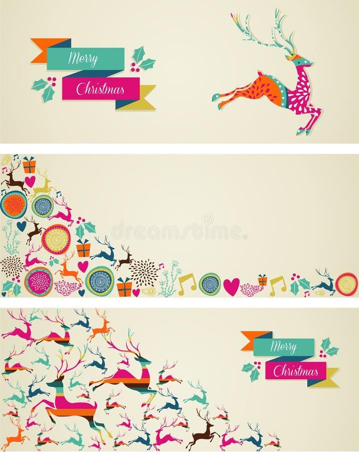 De vrolijke geplaatste banners van het het malplaatjeweb van Kerstmiselementen. royalty-vrije illustratie