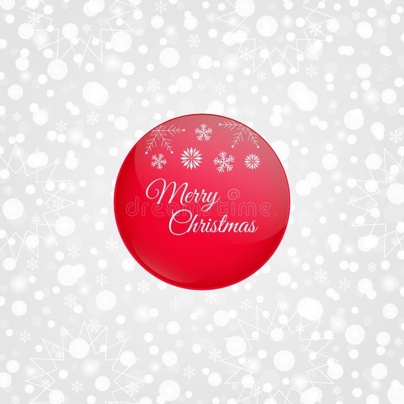 De vrolijke glanzende vectorillustratie van de Kerstmis rode cirkel Decoratieve grijze witte achtergrond met sneeuwvlokken, fonke vector illustratie