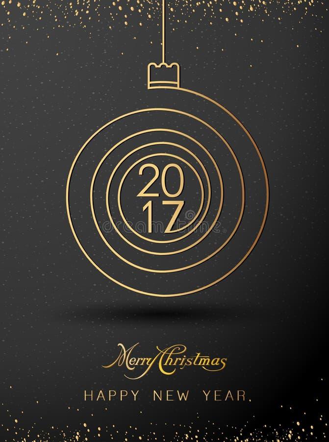 De vrolijke gouden 2017 spiraalvormige vorm van het Kerstmis gelukkige nieuwe jaar Ideaal voor Kerstmiskaart vector illustratie