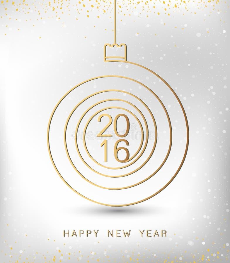 De vrolijke gouden 2016 spiraalvormige vorm van het Kerstmis gelukkige nieuwe jaar Ideaal voor Kerstmiskaart of de elegante uitno stock illustratie