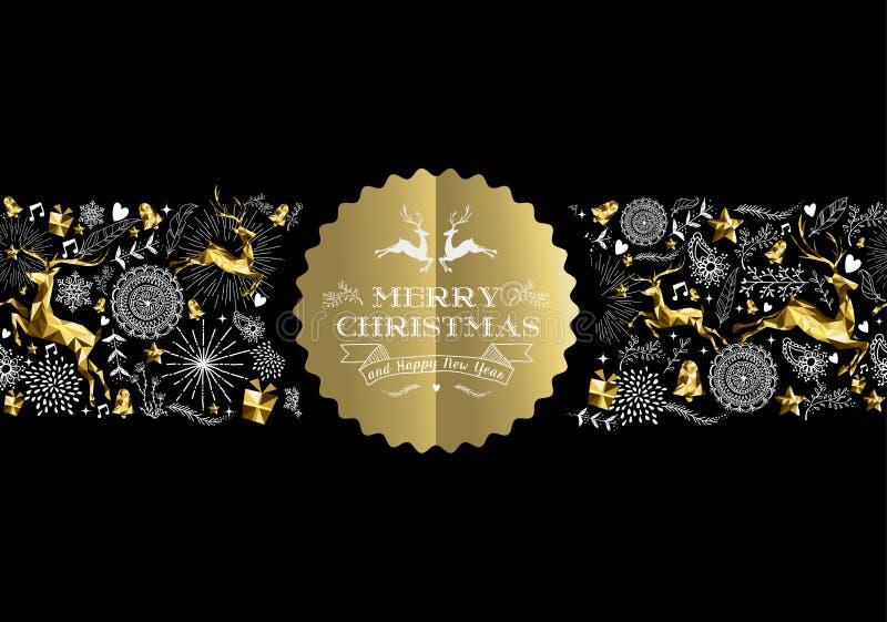 De vrolijke herten van het het etiketpatroon van het Kerstmis nieuwe jaar gouden vector illustratie