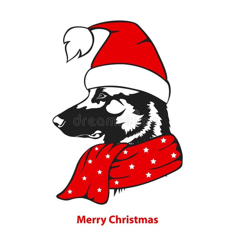 De vrolijke hond van de de groetherder van het Kerstmis gelukkige nieuwe jaar in de hoed van santakerstmis vector illustratie