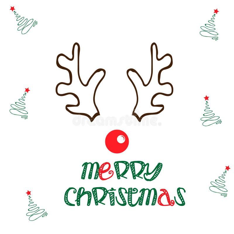 De vrolijke illustratie van het Kerstmisrendier royalty-vrije stock afbeeldingen