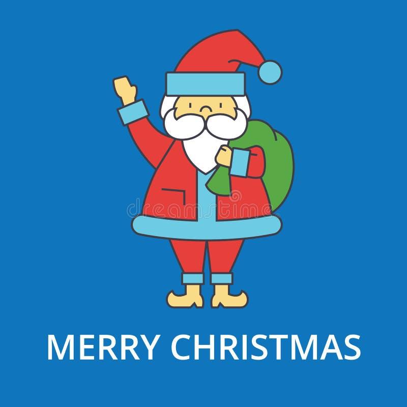De vrolijke illustratie van de Kerstmiskerstman, dunne lijnpictogrammen, lineair vlak teken stock illustratie