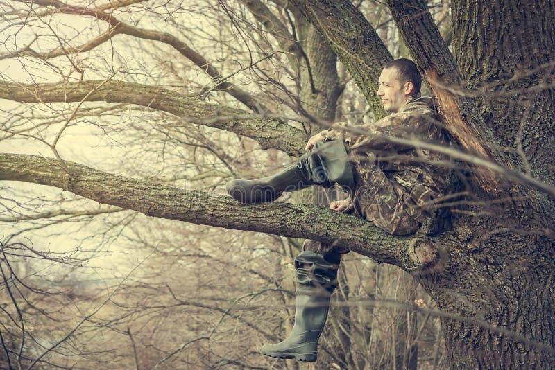De vrolijke jonge mensenzitting op boomtak die de afstand onderzoeken en geniet van het landschap stock foto's