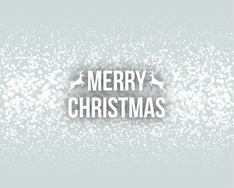 De vrolijke kaart van de de typografie van letters voorziende groet van het Kerstmis retro ontwerp met de dalende sneeuwvlokken e vector illustratie