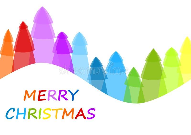 De vrolijke kaart van de Kerstbomengroet vector illustratie