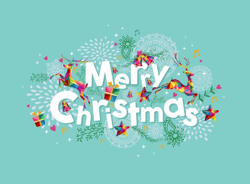 De vrolijke kaart van de Kerstmis eigentijdse groet stock illustratie