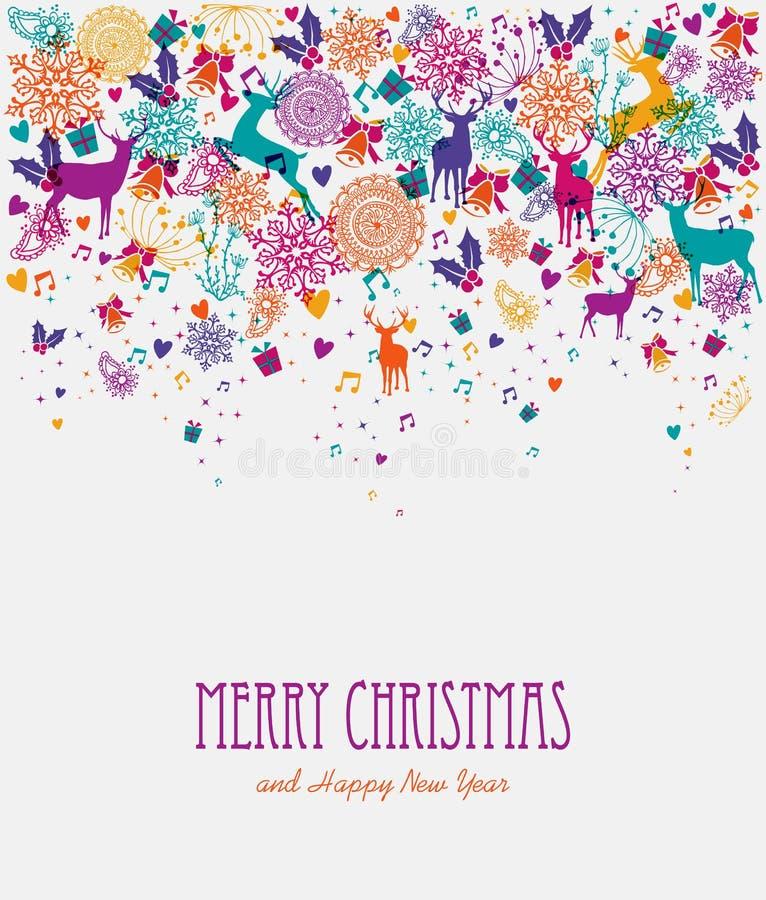 De vrolijke kaart van de Kerstmis kleurrijke groet stock illustratie