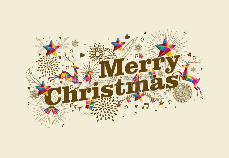 De vrolijke kaart van de Kerstmis uitstekende retro groet stock illustratie