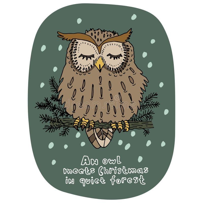 De vrolijke kaart van de Kerstmisgroet De viering van de nieuwjaarvakantie De stijl van het beeldverhaal Hand getrokken uilzittin vector illustratie