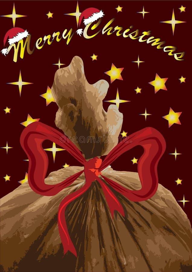 De vrolijke kaart van de Kerstmisgroet met de zak van Santa Claus s, vector royalty-vrije stock afbeeldingen