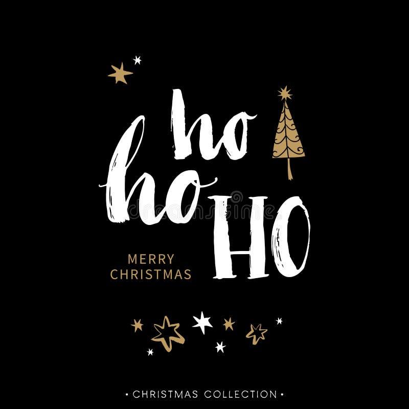 De vrolijke kaart van de Kerstmisgroet met kalligrafie Hoho royalty-vrije illustratie