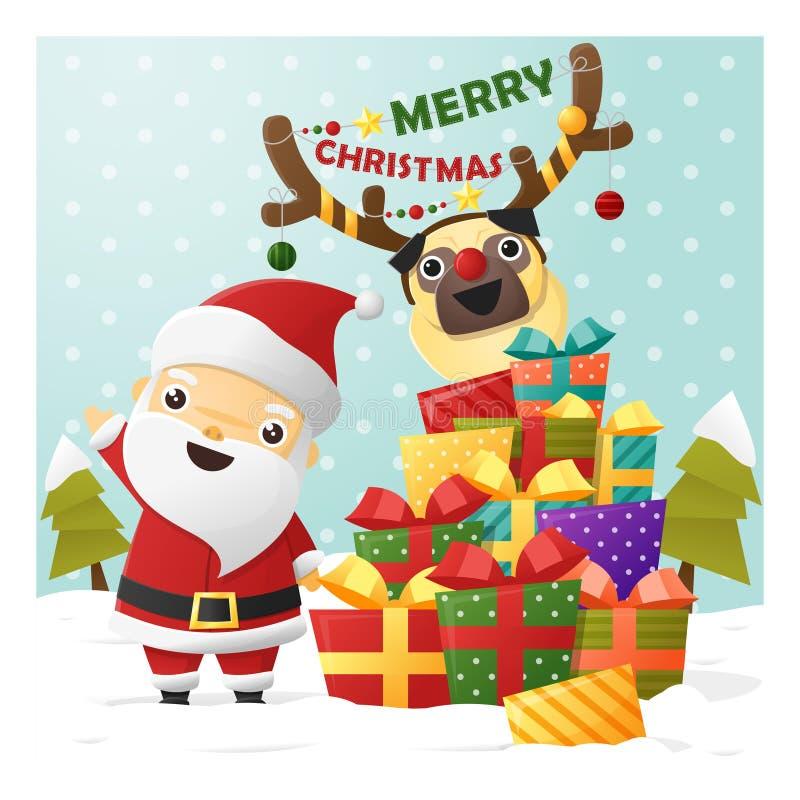 De vrolijke kaart van de Kerstmisgroet met Santa Claus vector illustratie