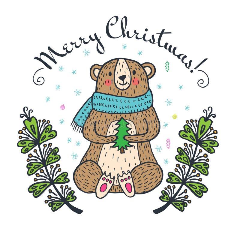 De vrolijke kaart van de Kerstmisgroet met teddybeer vector illustratie
