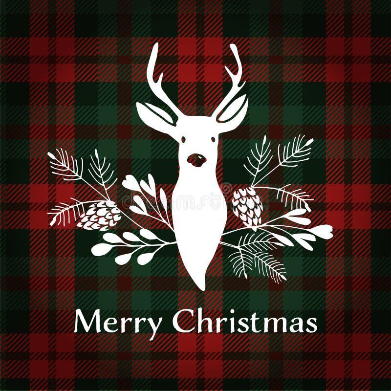 De vrolijke kaart van de Kerstmisgroet Rendier met Kerstmisboeket royalty-vrije illustratie