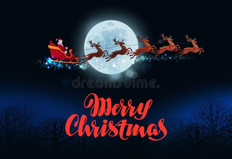 De vrolijke kaart van de Kerstmisgroet Santa Claus-vliegen in ar door rendier wordt getrokken dat royalty-vrije illustratie