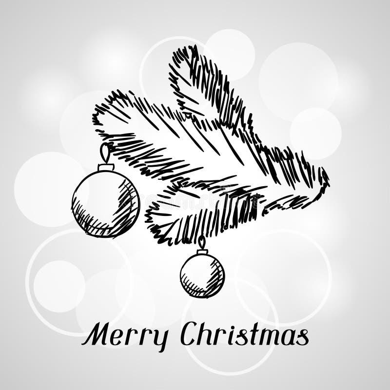 De vrolijke kaart van de Kerstmishand getrokken uitnodiging royalty-vrije illustratie
