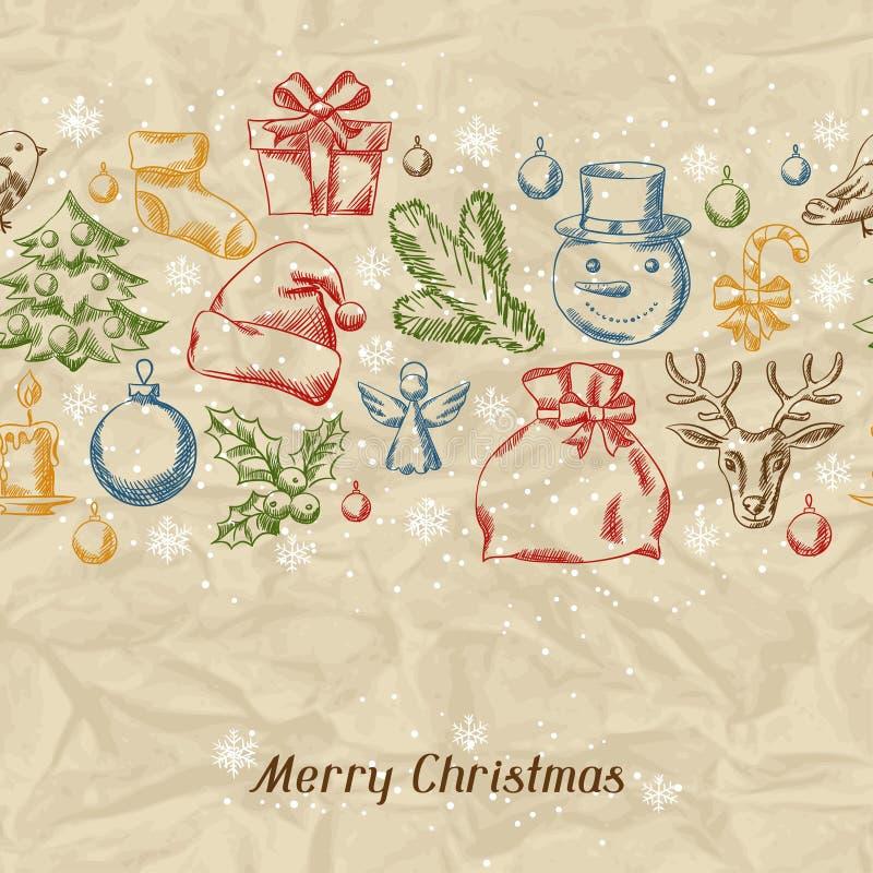 De vrolijke kaart van de Kerstmishand getrokken uitnodiging vector illustratie