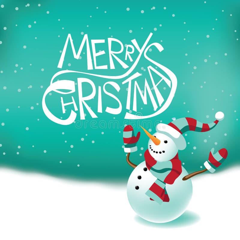 De vrolijke kaart van de Kerstmissneeuwman stock illustratie
