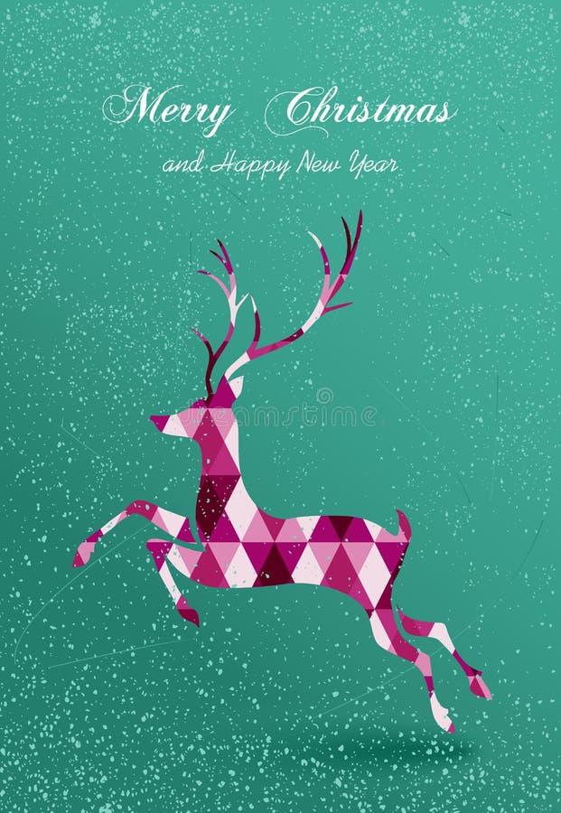 De vrolijke kaart van het Kerstmis abstracte geometrische rendier royalty-vrije illustratie