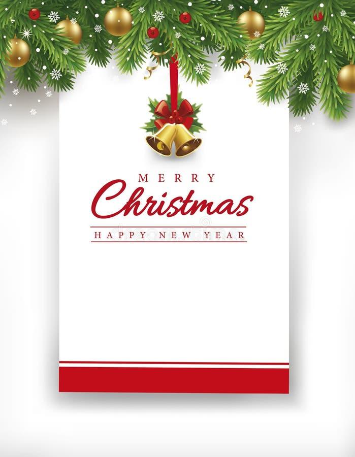 De vrolijke kaart van het Kerstmis nieuwe jaar met plaats voor uw tekst vector illustratie