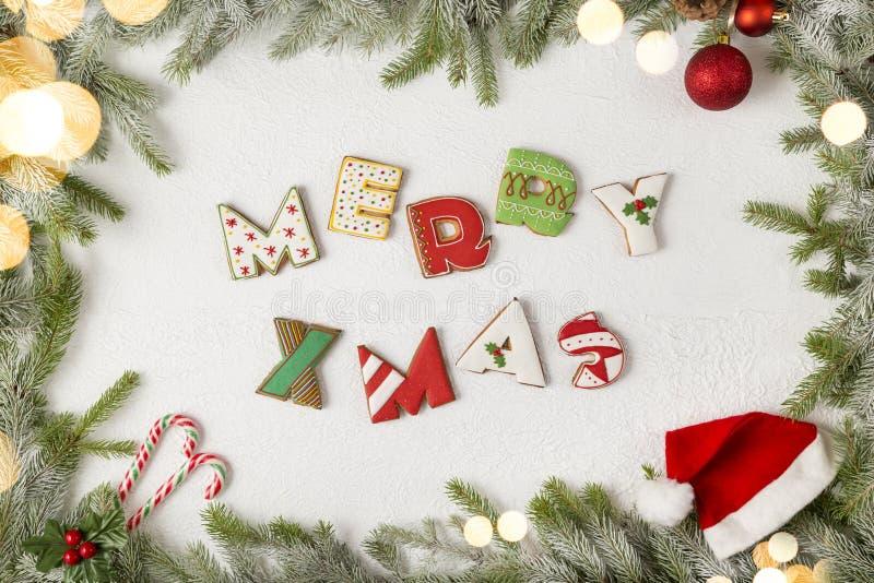 De vrolijke kaart van Kerstmis stock fotografie
