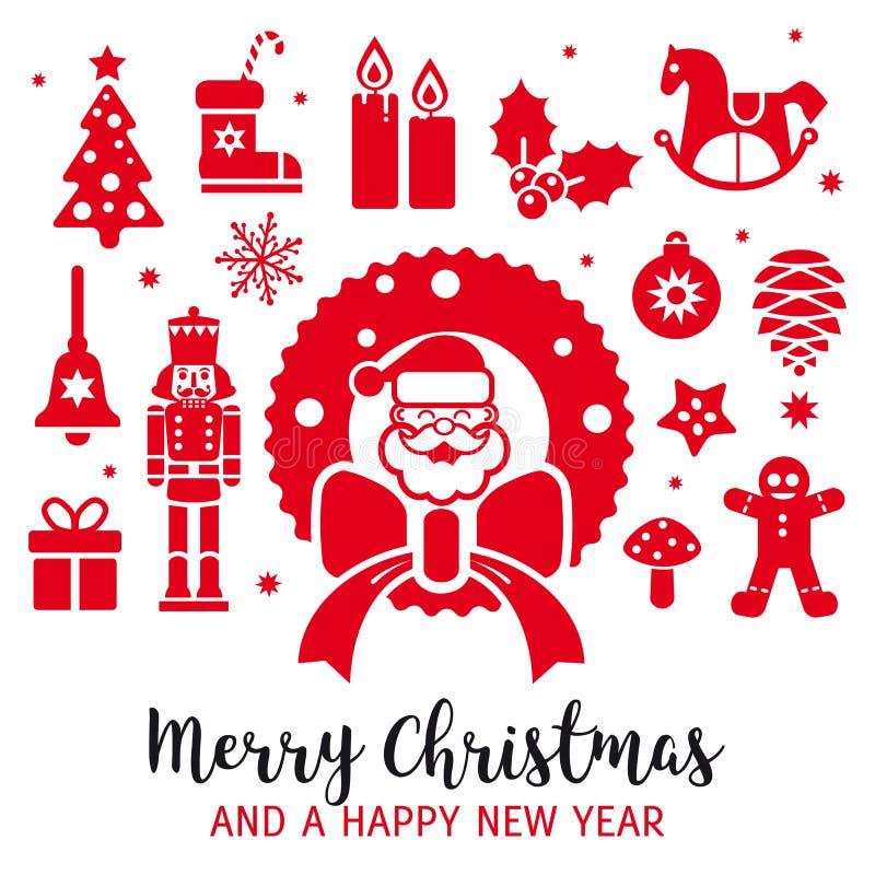 De vrolijke kaart van de Kerstmis decoratieve groet vector illustratie