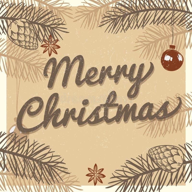 De vrolijke kaart van de Kerstmis uitstekende groet De vectorachtergrond van de de wintervakantie royalty-vrije illustratie