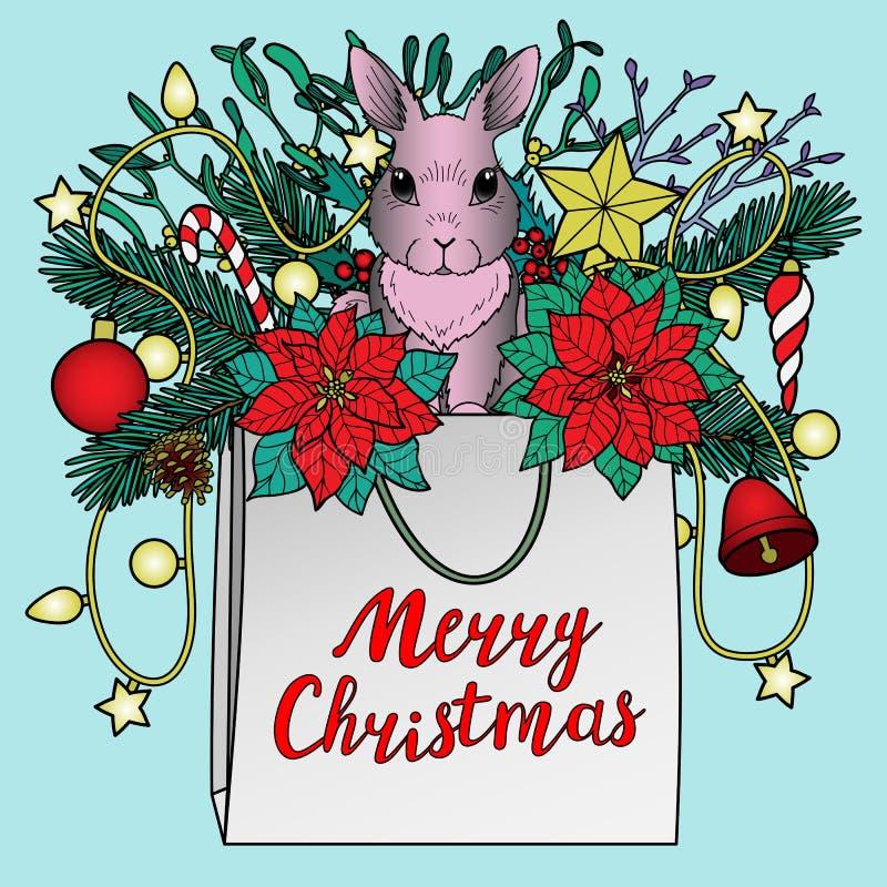 De vrolijke kaart van de Kerstmisgroet vector illustratie